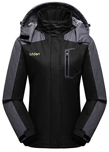 Mden Women's Insulated Jacket Snowboard Hooded Waterproof Mountain Ski Jacket Winter Coat(Black, X-Large)