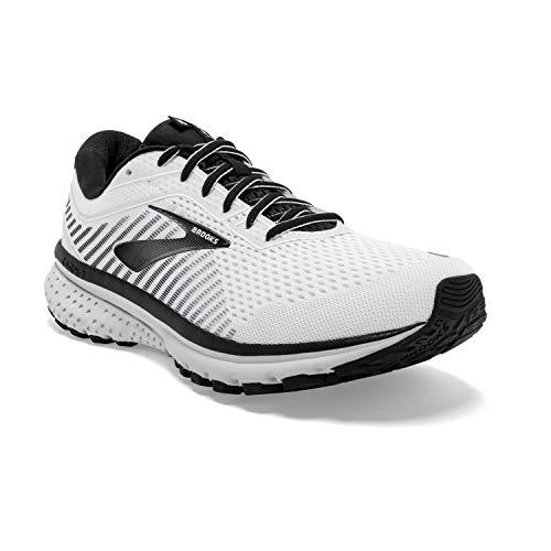 Brooks Mens Ghost 12 Running Shoe - White/Grey/Black - D - 9.5