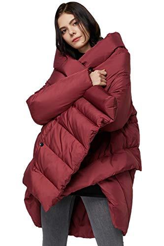 Orolay Women's Puffer Down Coat Cloak-type Jacket Red Medium