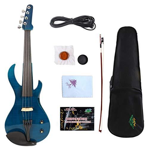 4/4 Electric Violin Solid wood Ebony Fittings Big Jack Pickup Natural Wood Flame Blue Guitar Shape Violin Case Bow