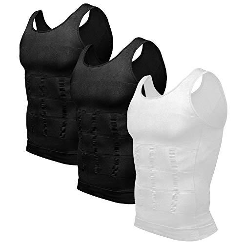 Odoland Mens 3 Pack Body Shaper Slimming Tummy Vest Thermal Compression Shirt Tank Top Shapewear, Black/Black/White, L