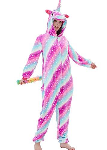 ABENCA Fleece Unicorn Onesie Adult Pajamas for Women Cartoon Animal Christmas Halloween Cosplay Onepiece Costume,Sky Unicorn.M