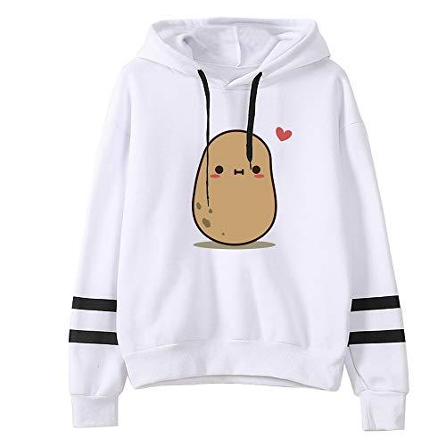 Aniywn Teen Girls Hooded Sweatshirt Womens Long Sleeve Cute Hoodies Pullover Tops Casual Loose Striped Hooded Blouse White