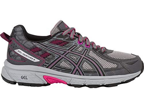 ASICS Women's Gel-Venture 6 Running-Shoes,Carbon/Black/Pink Peacock,8 Medium US