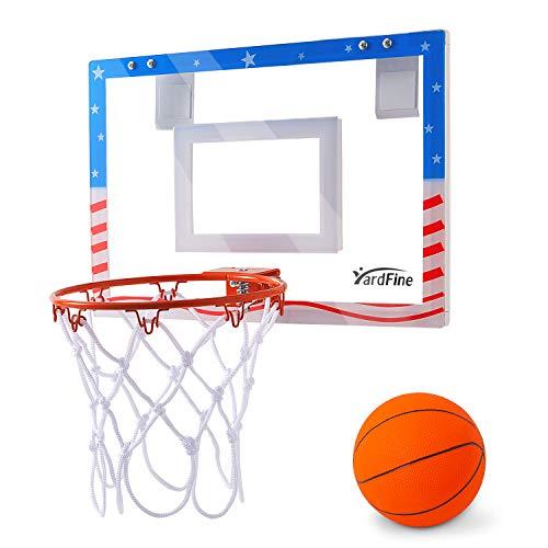 YardFine Mini Basketball Hoop Pro Over The Door with Premium Basketball & Pump Shatterproof Backboard Mini-Hoop Gift for Boys Kids Teens