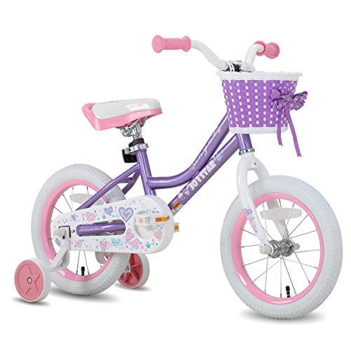 JOYSTAR 12 Inch Kids Bike for 2 3 4 Year Girls, Child Bicycle with Training Wheels & Basket, 85% Assembled, Purple
