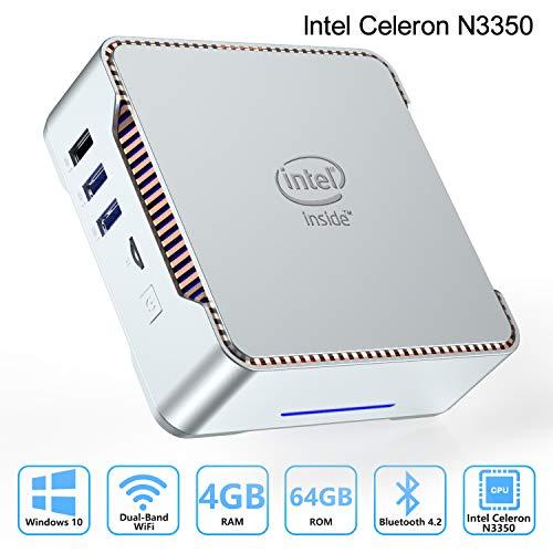 AK3 Mini PC Intel Celeron N3350 (up to 2.4GHz) Mini Computer with Window 10 Pro 64bit 4GB DDR3+64GB eMMC,Dual Band Wi-Fi 2.4G/5G,HDMI/VGA Port Three Display, Gigabit Ethernet, 4K HD,Bluetooth 4.2
