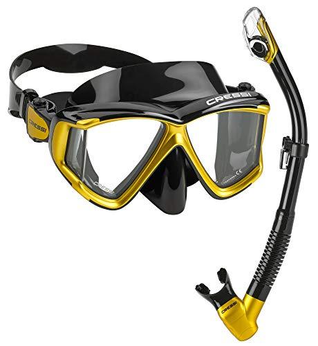 Cressi Italian Designed Liberty Quattro Panoramic View Tempered Glass Lens Premium Scuba Snorkeling Mask Dry Snorkel Set, BKGL