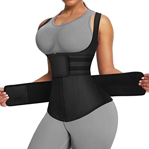 FeelinGirl Body Tummy Shaper Slimming Latex Waist Trimmer Corset Vest M Black