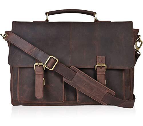 Leather Messenger Bag Locking Laptop Briefcase organiser For Men Adjustable Satchel Handle (Paris)