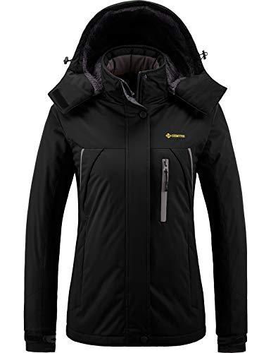GEMYSE Women's Mountain Waterproof Ski Snow Jacket Winter Windproof Rain Jacket (Black01,Small)