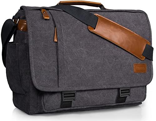 Estarer Computer Messenger Bag 17-17.3 Inch Water-resistance Canvas Laptop Shoulder Bag for Travel Work College New Version