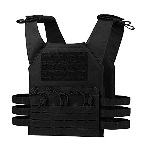 Dovewell Tactical Vest Adjustable Airsoft Vest Quick Release Airsoft Vest for Men(Black)