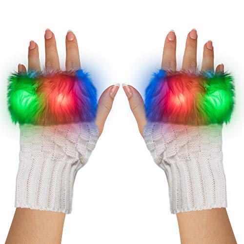 LED Light Up White Fuzzy Half Finger Gloves - For Christmas, Birthday, Glow in the Dark Party, Raves EDM