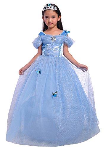 Dressy Daisy Girls' Princess Dress Costume Christmas Halloween Fancy Dresses Up Butterfly Size 6X-8 Blue