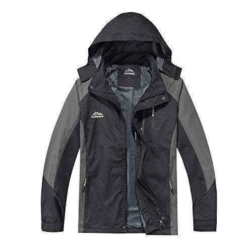 TEZO Mens Rain Jacket Waterproof with Hooded Hiking Coat Lightweight Windbreaker(BK L) Black