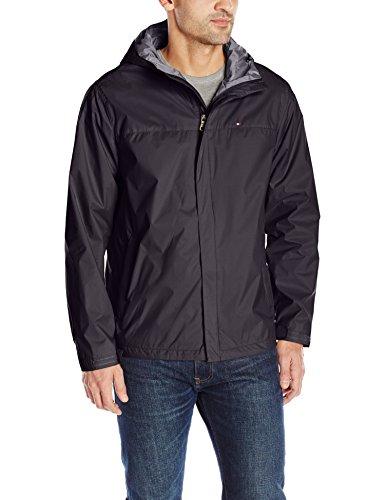 Tommy Hilfiger Men's Waterproof Breathable Hooded Jacket, Charcoal, L