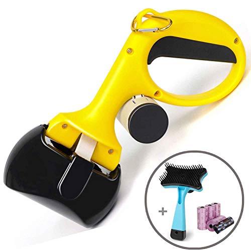 Pooper Scooper - Portable Pet Waste Scoop - Ndoor Or Outdoor Waste Pickerpet Poop Clamp( Free Pet Brush 6 Roll Poop Bags )