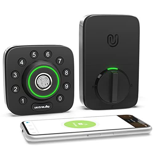 ULTRALOQ Smart Lock U-Bolt Pro, 6-in-1 Keyless Entry Door Lock with Bluetooth, Biometric Fingerprint and Keypad, Smart Door Lock Front Door, External Lock IP65 Waterproof, Deadbolt Lock Edition