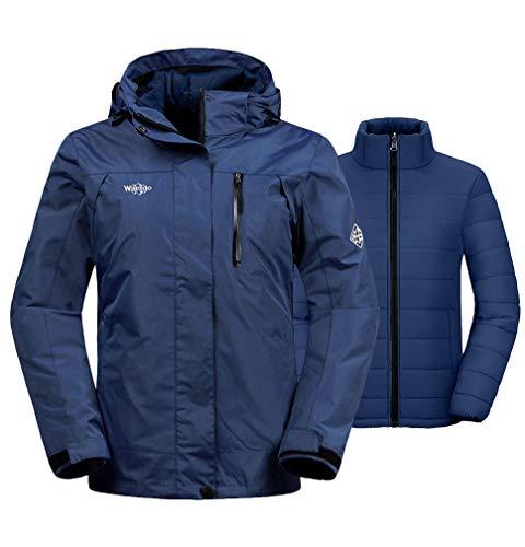 Wantdo Women's Windproof 3-in-1 Ski Jacket Waterproof Windbreaker with Detachable Puffer Liner Insulated Winter Coat for Skiing(Navy, Large)