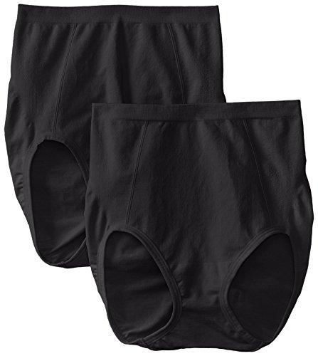 Bali Women's Shapewear Seamless Brief Ultra Control 2-Pack, Black/Black, 3X