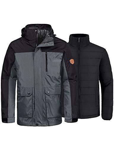 Wantdo Men's 3-in-1 Ski Jacket Raincoat Cotton Padded Parka Casual Wear Grey XL
