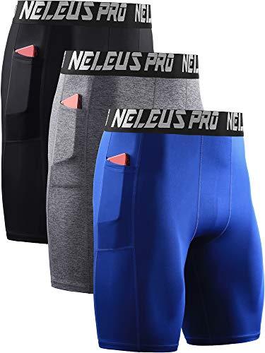Neleus Men's 3 Pack Compression Shorts with Pockets Dry Fit Yoga Shorts,6063,Black/Grey/Blue,US 2XL,EU 3XL