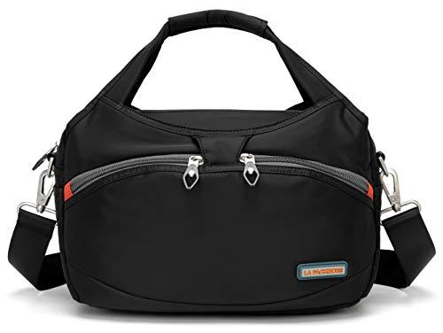 La Packmore Waterproof Nylon Crossbody Bags for Women Multi-Pocket Shoulder Bag Travel Purse and Handbag