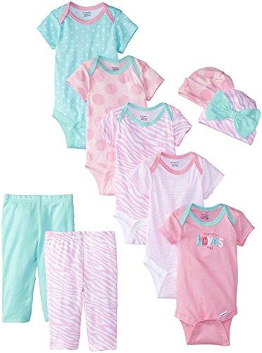 Gerber Baby Girls' 9 Piece Bodysuits Gift Set, Pink,Bodysuit Pant(0/3Months)