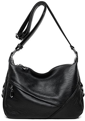 Women's Retro Sling Shoulder Bag from Covelin, Leather Crossbody Tote Handbag Black