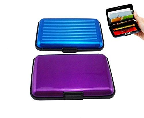 Yueton Pack of 2 Credit Card Wallet RFID Blocking Case - Credit Card Holder for Men & Women -Business Card Case (Purple,blue)