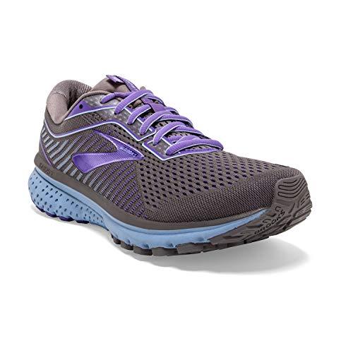 Brooks Womens Ghost 12 Running Shoe - Shark/Violet/Bel Air Blue - B - 9.5