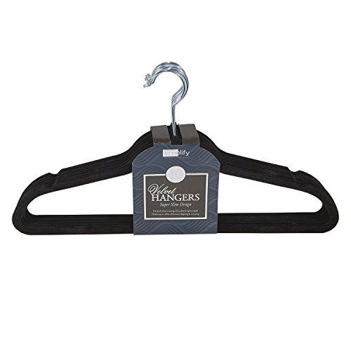 Simplify 10 Super Slim Velvet Huggable Hangers in Black