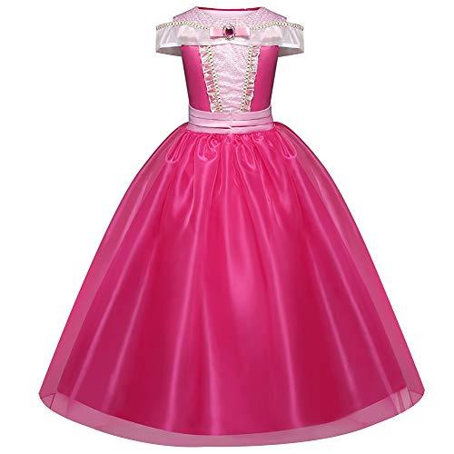 GekLok Girls Fancy Dress, Costumes Princess Dress up Party Dress for Kids 3-8Years Pink (7-8Y)