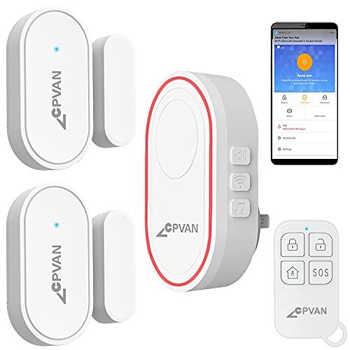 CPVAN WiFi Door Alarm System(2nd Gen),DIY Wireless Home Security Kit for Kids Elders Safety, 1 Remote Control, 2 Door Window Sensors, 1 Base Station, Fit House, Garage, Apartment. Works with Alexa.
