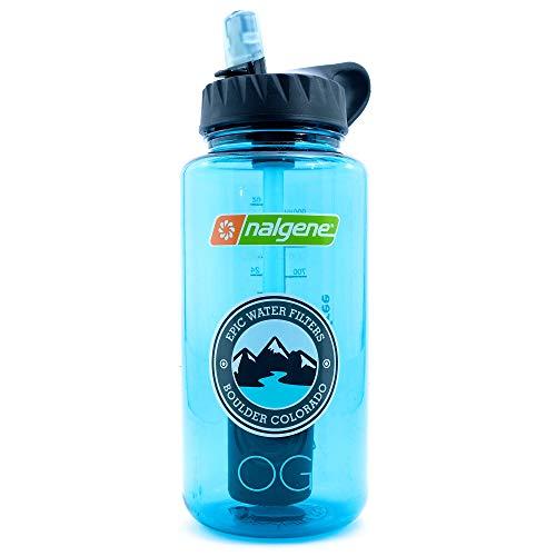 Epic Nalgene OG | Water Filtration Bottle | Wide Mouth 32 oz | American Made Bottle | USA Made Filter Removes 99.99% of Tap Water Contaminants Lead Chlorine Chromium 6 Arsenic Chloroform (Cerulean)