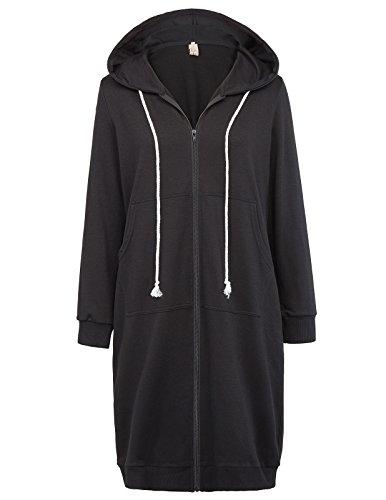 GRACE KARIN Women's Zip-up Hoodie Sweatshirt Jackets Black Size L CL612-1