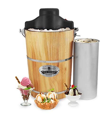 Elite Gourmet EIM916 Old Fashioned 6 Quart Vintage Appalachian Wood Bucket Electric Maker Machine, Bonus Classic Die-Cast Hand Crank, Uses Rock Salt Churns Ice Cream in Minutes, Black