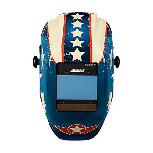 Jackson Safety Welding Helmet, 46101 - Digital Variable Auto Darkening Filter, Lightweight Protective Welder Face Mask with Light HLX100 Shell for Men and Women, Universal Size, Stars & Scars Design