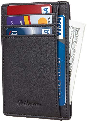 Chelmon Slim Wallet RFID Front Pocket Wallet Minimalist Secure Thin Credit Card Holder (GeNapa Black)
