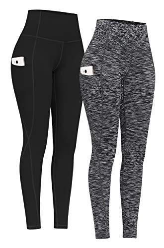 PHISOCKAT 2 Pack High Waist Yoga Pants with Pockets, Tummy Control Yoga Pants for Women, Workout 4 Way Stretch Yoga Leggings (Black+Space Dye Black, XX-Large)
