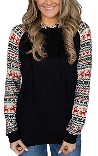 ECOWISH Womens Hoodies-Tops Floral Drawstring Pullovers Casual Long Sleeve Stitching Sweatshirt Black M
