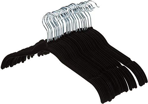 AmazonBasics Velvet Clothing Hangers - 30-Pack, Black