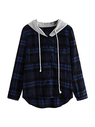 SweatyRocks Women's Casual Plaid Hoodie Shirt Long Sleeve Button-up Blouse Tops (X-Large, Navy)