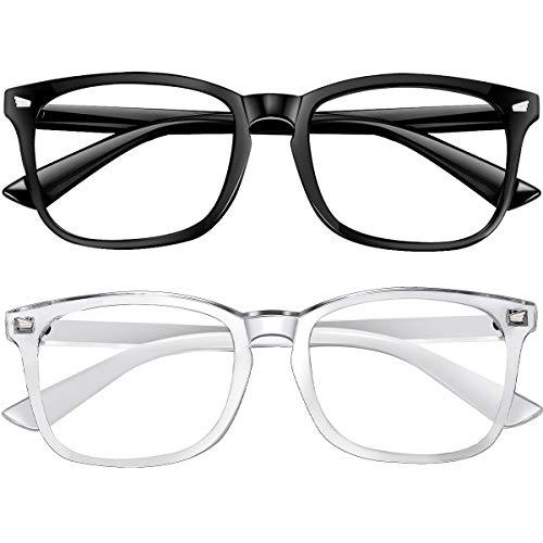Blue Light Blocking Glasses 2pack Square Computer Glasses Women/Men, Nerd Reading Gaming Glasses Non Prescription (black/touming)