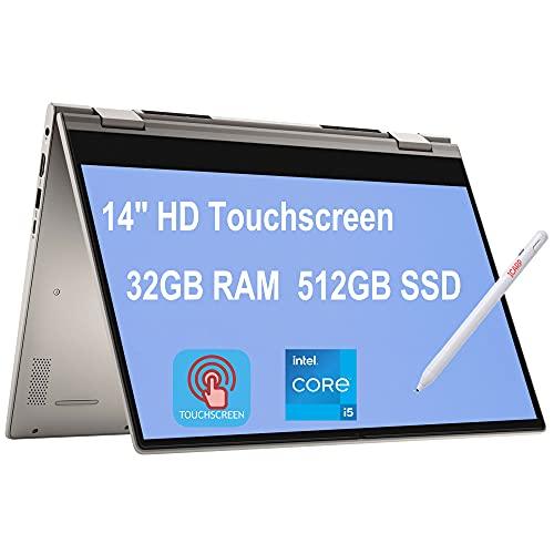 Flagship 2021 Dell Inspiron 14 5000 5406 2-in-1 Laptop 14' HD Touchscreen 11th Gen Intel Quad-Core i5-1135G7 (Beats i7-10710U) 32GB RAM 512GB SSD Fingerprint USB-C WiFi6 Win10 Dune + iCarp Pen