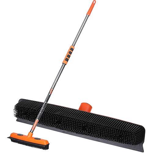 MATCC Rubber Broom Floor Squeegee Carpet Rake Brush Dog Pet Hair Remover Broom for Carpet Rug Floor Cleaning Model MPB001