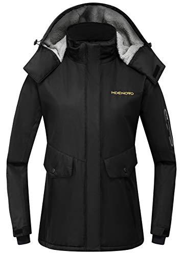 MDENOVO Women's Mountain Ski Jacket Waterproof Fleece Snowboard Winter Rain Coat(Black, Medium)