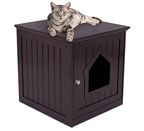 Internet's Best Decorative Cat House & Side Table - Cat Home Nightstand - Indoor Pet Crate - Litter Box Enclosure (Espresso)