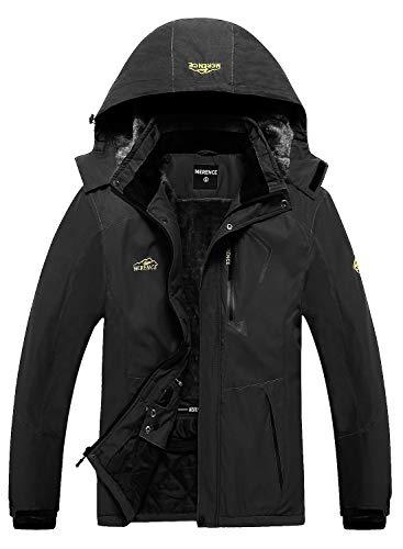 Men's Waterproof Ski Jacket Fleece Windproof Mountain Winter Snow Jacket Warm Outdoor Sports Rain Coat with Hooded U220WCFY028,New.Black,M